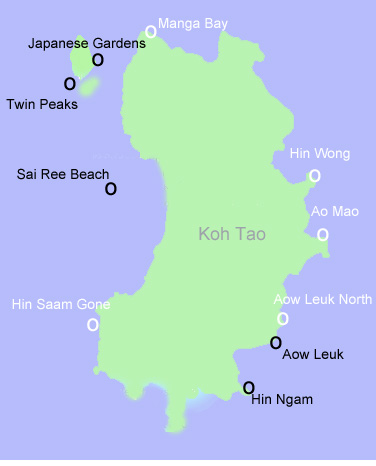 Dive sites around Koh Tao