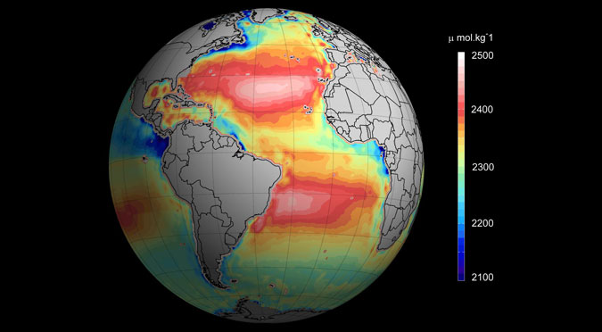Total ocean alkalinity from space.