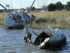 Derelict vessels identified for removal in the Charleston Harbor watershed. The South Carolina Sea Grant Consortium's received funding to remove derelict vessels to help improving both the safety of navigable waterways and the health of essential fish habitat. (Credit: With permission from the South Carolina Dept of Natural Resources, Peter Kingsley Smith).