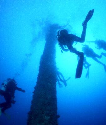 Diving on mast of Shouna by Tim Nicholson of SCUBA Travel