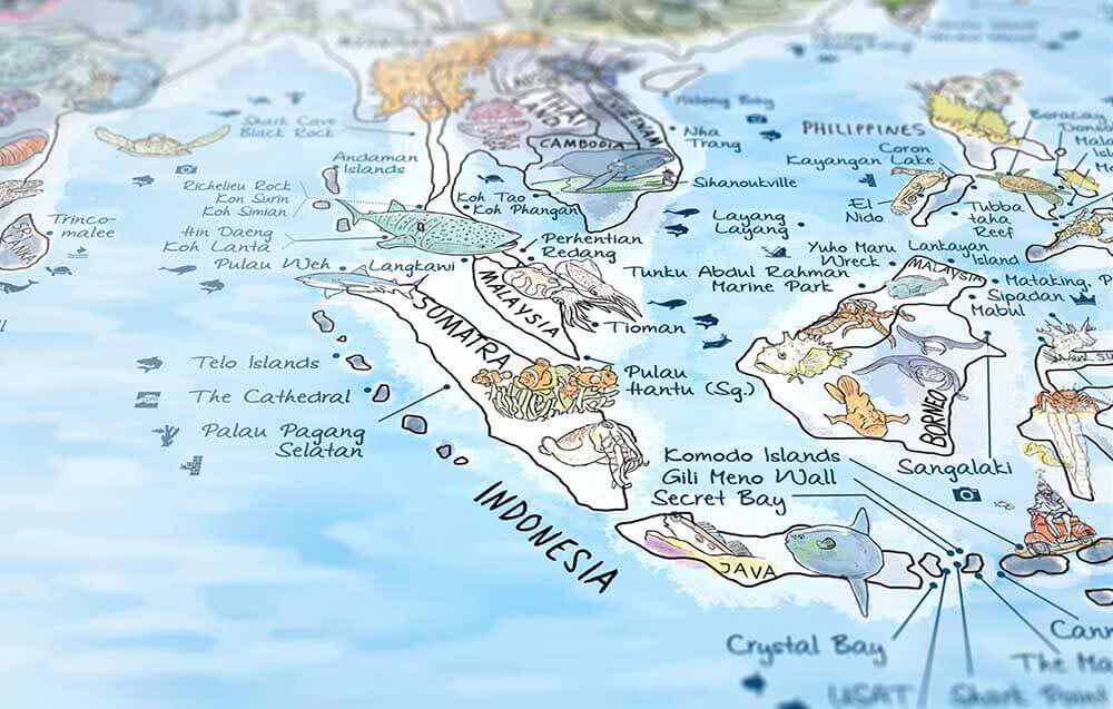 Win an awesome map of the best diving in the world scuba - Best dive sites ...