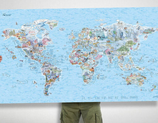 Win World scuba diving map for your wall