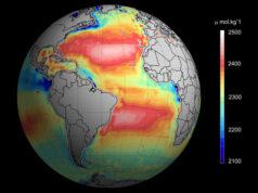 Total ocean alkalinity from space.