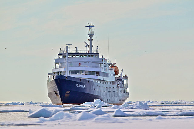 Plancius liveaboard in pack ice Spitsbergen