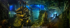 Panoramic view of the engine room of the wreck of the Chrisoula K at Abu Nuhas, Egypt, Red Sea by Tobias Friedrich
