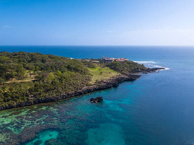 An aerial view of the southwest end of Roatan island Honduras looking south