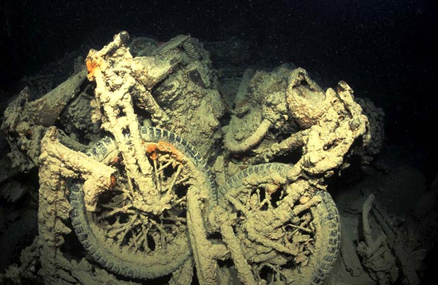 Motor bikes on the Thistlegorm by Tim Nicholson